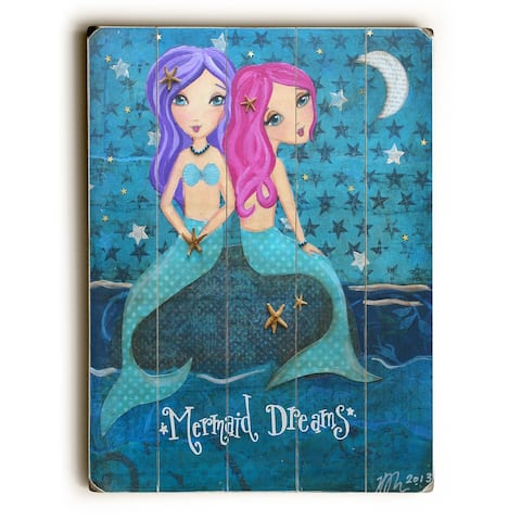 Mermaid Dreams - Planked Wood Wall Decor by Heather Rushton