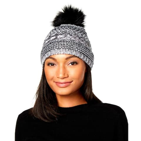 INC International Concepts Women's Metallic Space Dye Pom Pom Beanie Hat Black - One Size Fits Most