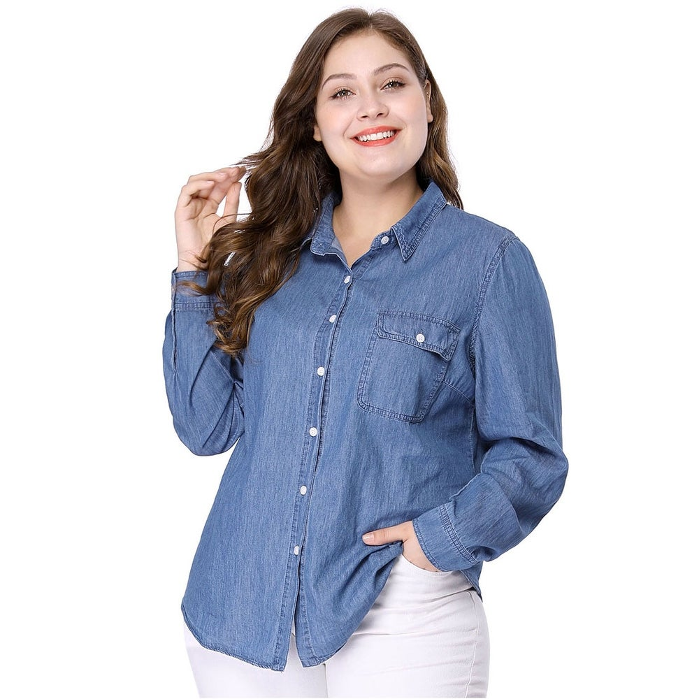 Womens Plus Size Long Sleeve Chest Pocket Chambray Shirt - Blue