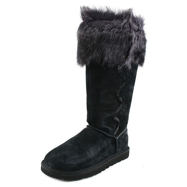 c5966b7a48c Shop Ugg Australia Rosana Women Round Toe Leather Black Winter Boot ...