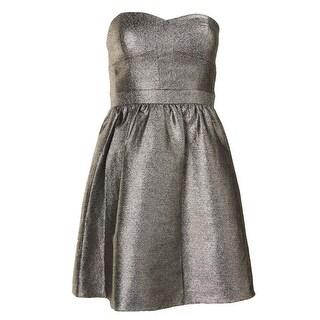 Aqua Womens Metallic Strapless Clubwear Dress