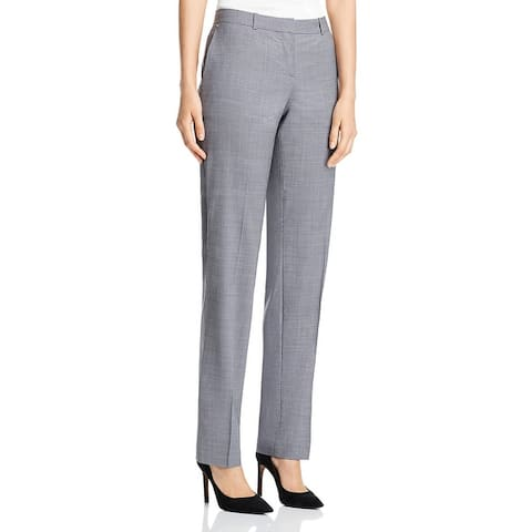 BOSS Hugo Boss Womens Tamea Pants Houndstooth Virgin Wool - Grey