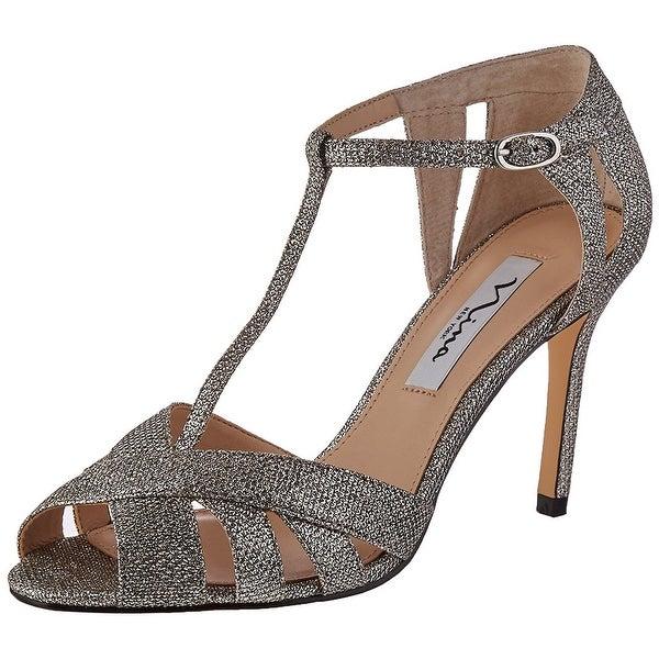 Nina Womens ricarda Fabric Open Toe Ankle Strap Classic Pumps
