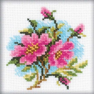 """Dog Rose (14 Count) - Rto Counted Cross Stitch Kit 4""""X4"""""""