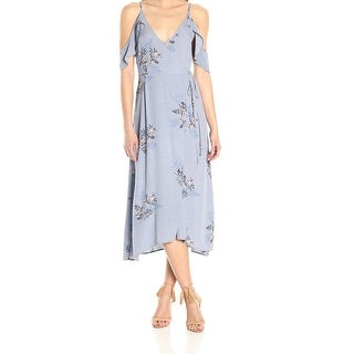 ASTR NEW Blue Womens Size Large L Floral Cold Shoulder Wrap Maxi Dress