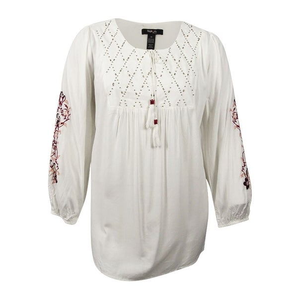 4f282fd9015 Shop Style   Co. Women s Plus Embroidered Beaded Peasant Top (2X ...