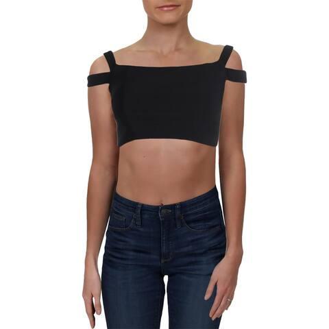 Blondie Nites Womens Juniors Crop Top Off-The-Shoulder Short - Black - 3