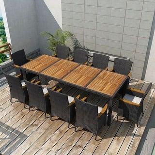 Shop Vidaxl Outdoor Dining Set 21 Pieces Poly Rattan Black Free