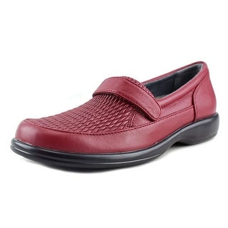 FootSmart Sarah Women WW Round Toe Leather Red Loafer