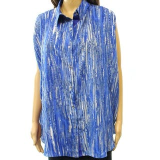 Anne Klein NEW Blue Printed Women's Size 1X Plus Button Down Shirt|https://ak1.ostkcdn.com/images/products/is/images/direct/955934b40d599e74133166301e9feaefb0b391ca/Anne-Klein-NEW-Blue-Printed-Women%27s-Size-1X-Plus-Button-Down-Shirt.jpg?impolicy=medium