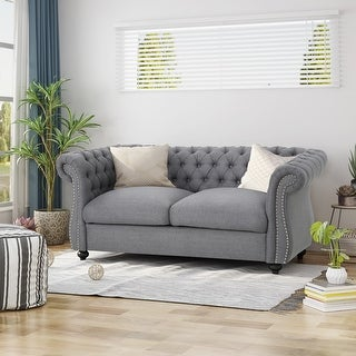 Link to Somerville Chesterfield Polyester Loveseat by Christopher Knight Home Similar Items in Living Room Furniture