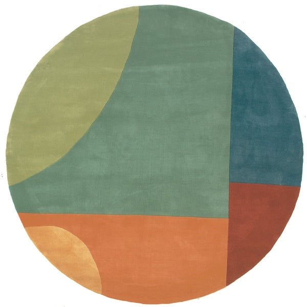 "Momeni New Wave Multicolor Hand-Tufted and Hand-Carved Wool Rug (5'9 X 5'9 Round) - 5'9"" x 5'9"" Round"