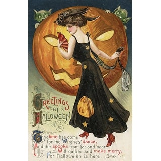 Halloween Greeting Witch Dancing - Vintage Holiday (Art Print - Multiple Sizes)