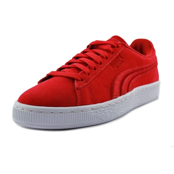 Puma Suede Classic Badge  Men  Round Toe Suede Red Sneakers