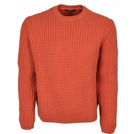 Gucci Men's Heavy Orange Ribbed Tab Logo Cotton Sweater Shirt L