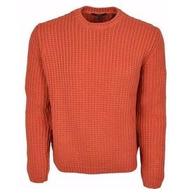 Gucci Men's Heavy Orange Ribbed Tab Logo Cotton Sweater Shirt L ...