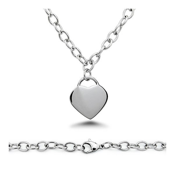 Stainless Steel Engraveable Heart Tag Necklace