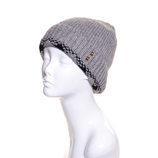 Womens Wool Knit Beanie Plaid Trimmed Lined