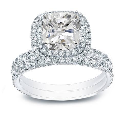 Auriya 2ctw Cushion-cut Halo Diamond Engagement Ring Set 14k Gold Certified