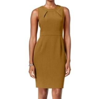 Kasper NEW Brown Women's Size 8 Pleated Neck Seamed Sheath Dress