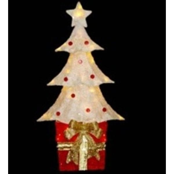 """32"""" Lighted Sparkling Red and Cream Sisal Christmas Tree with Present Yard Art Decoration"""