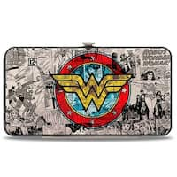 Wonder Woman Logo Comic Scenes Grays Blue Red Yellow Hinged Wallet - One Size Fits most