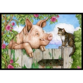 Carolines Treasures CDCO0349JMAT Pig at the Gate with the Cat Indoor or Outdoor Mat 24 x 36