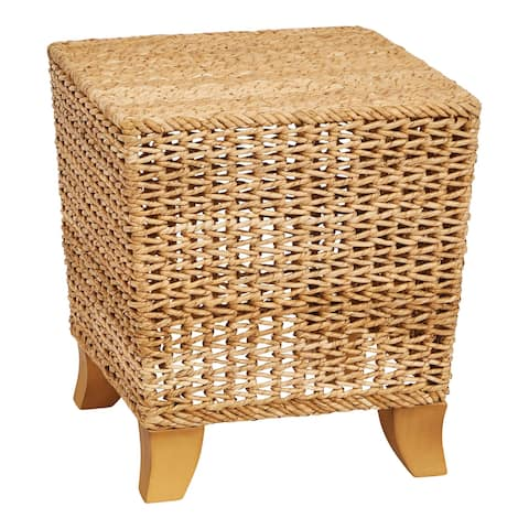 """14""""H Water Hyacinth & Rattan Stool with Wood Legs"""