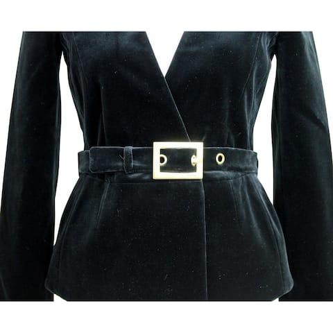 Gucci Velvet Belted Blazer Black Cotton Elastane Stretch Jacket 325306 1000