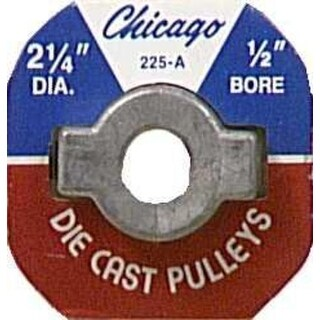 """Chicago Die Casting 225A5 Single V Grooved Pulley, 2-1/4"""" x 1/2"""""""