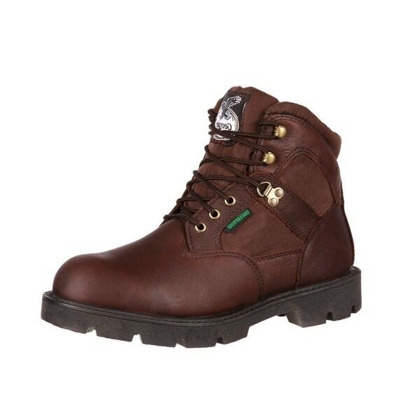"""Georgia Boot Work Mens 6"""" Homeland Waterproof Steel Toe Brown"""