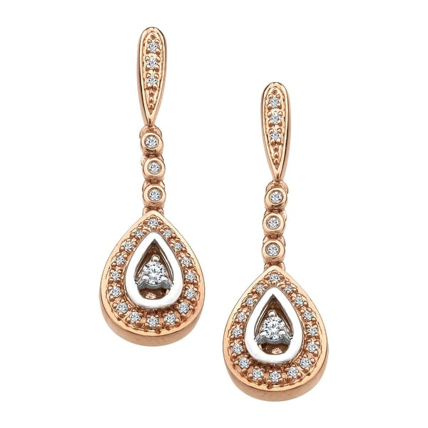 1/6 ct Diamond Teardrop Earrings in 10K Two-Tone Gold