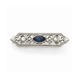 Silvertone Downton Abbey Blue and Clear Crystal Pin
