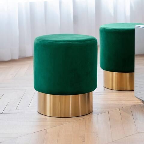 Art-Leon Round Velvet Ottoman Upholstered with Plating Metal Hemming