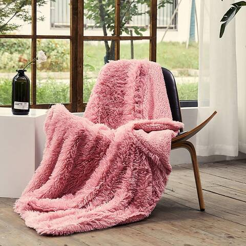 "Airi Home LUXURY Decorative Extra Soft Faux Fur Throw Blanket 50"" x 65"" Fuzzy Reversible Shaggy Chic"