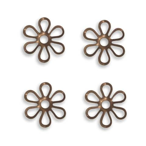 Vintaj Natural Brass Fastenables Fairy Petals Daisy Flower Stampings 13.5mm (4)