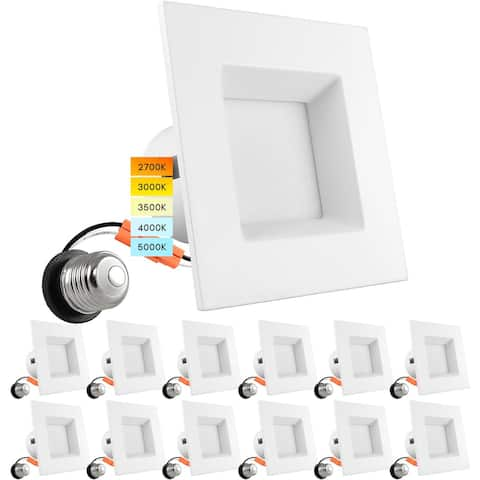 Luxrite 12 Pack 4 Inch Square Recessed LED Can Lights 5 Color Temperature Selectable Dimmable CRI 90 Wet Rated