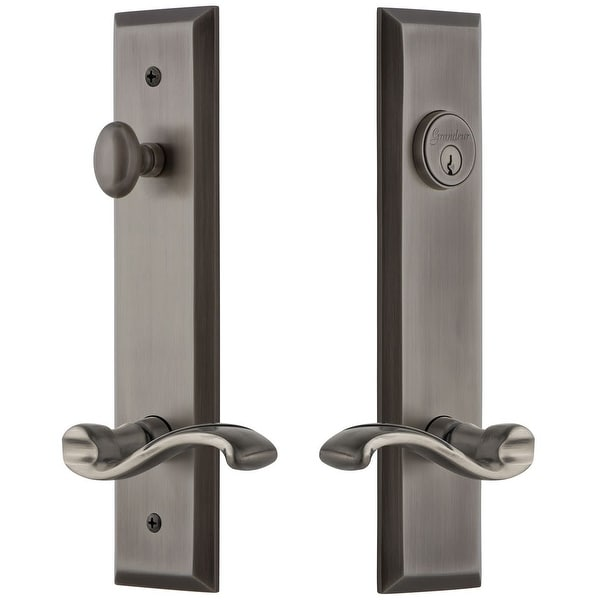 Grandeur FAVPRT_TP_ESET_238_LH Fifth Avenue Solid Brass Tall Plate Single Cylinder Keyed Entry Set with Portofino Lever and