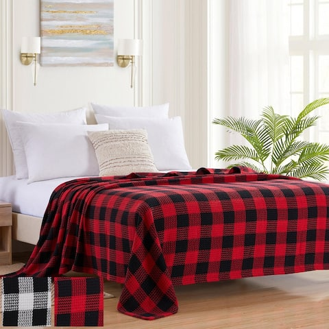 Sweet Home Collection Cotton Blend Knit Buffalo Check Blanket