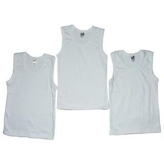 Strawberry Boys White Cotton Tank Undershirt 3 Pc Tops Set