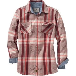 Legendary Whitetails Ladies Antler Creek Button Down - bittersweet red shed plaid