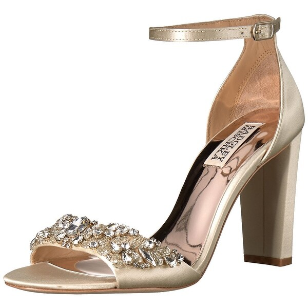 BADGLEY MISCHKA Womens Barby Leather Open Toe Special Occasion Ankle Strap Sa...