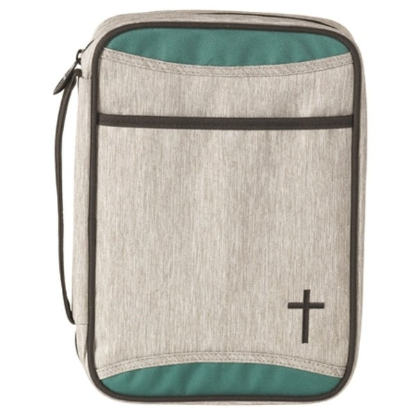 """9.25"""" Gray and Green Religious Themed Distinctive Cross Design Thinline Bible Cover - N/A"""