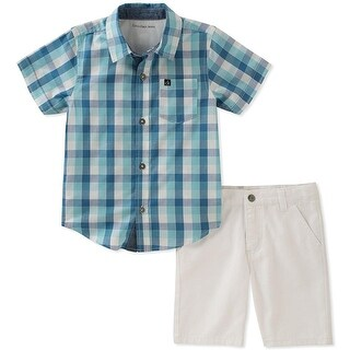 Calvin Klein Kids Boys 2T-4T Plaid Shirt And Short Set - Blue (2 options available)