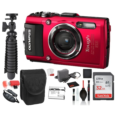 Olympus Stylus TOUGH TG-4 Digital Camera (Red) Advanced Bundle: