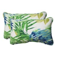 """Set of 2 Blue and Green Caribbean Forest Outdoor Corded Throw Pillows 18.5"""""""