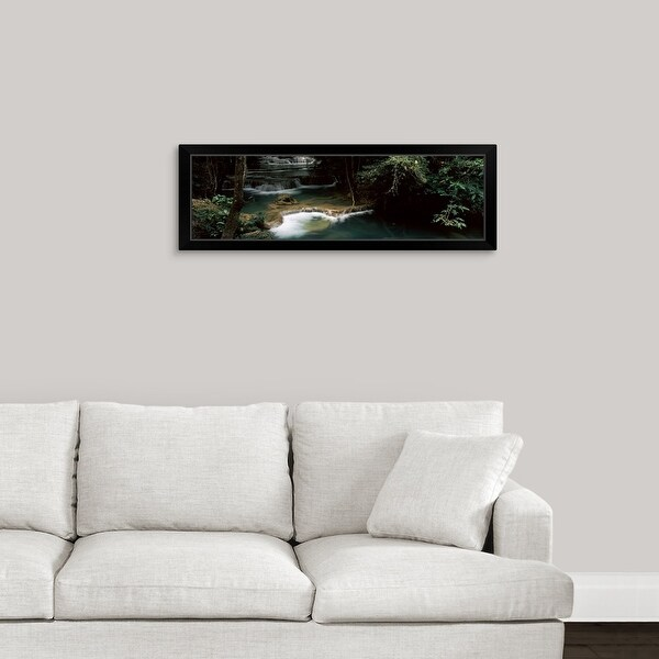 """Waterfall in a forest, Huai Mae Khamin Waterfall, Thailand"" Black Framed Print"