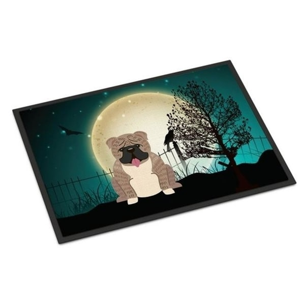 Carolines Treasures BB2316JMAT Halloween Scary English Bulldog Grey Brindle Indoor or Outdoor Mat 24 x 0.25 x 36 in.