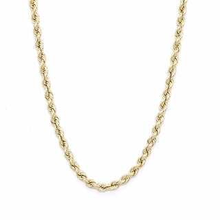 """Mens Or Ladies Hollow Rope Necklace 24"""" Inches 10k Yellow Gold 2 MM"""