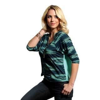 Cruel Girl Western Shirt Womens 3/4 Sleeve Henley Teal CTK7029001